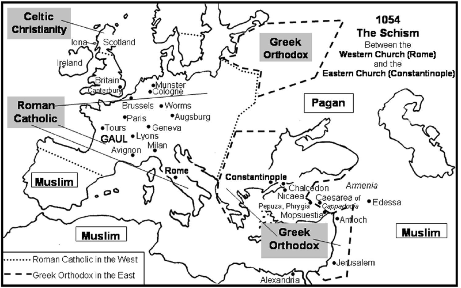 what caused the great schism 1054