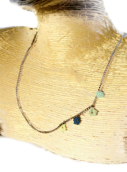 simple necklace, knit jewelry,