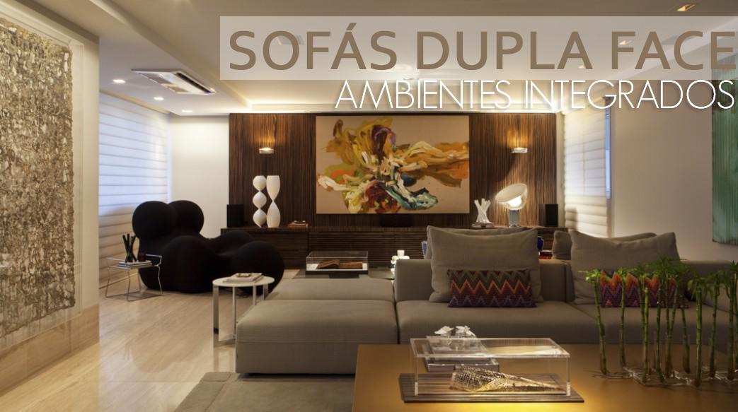 Sofá dupla face em ambientes integrados – otimize espaço na sua