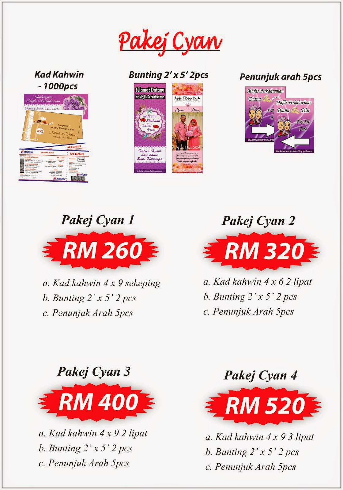 Pakej Kad Kahwin (Custom Made Card)