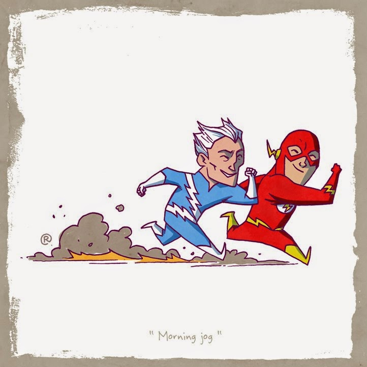 Flash and Quicksilver in a friendly jog.
