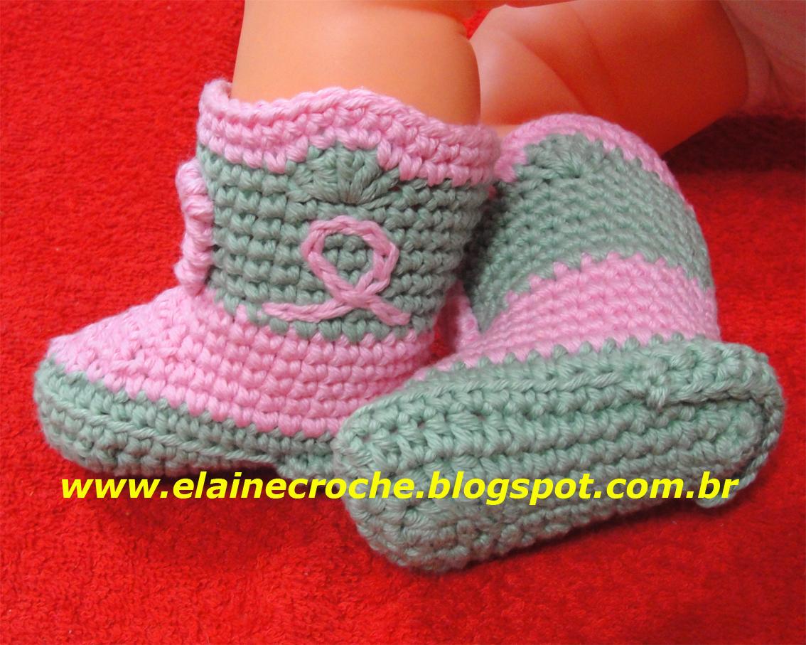 Botinha Bebê Pequeno Cowboy e Gorrinho com aba formando o conjunto usando  linha 100% algodão e agulha de Crochê Clover 3 599ff2b5982