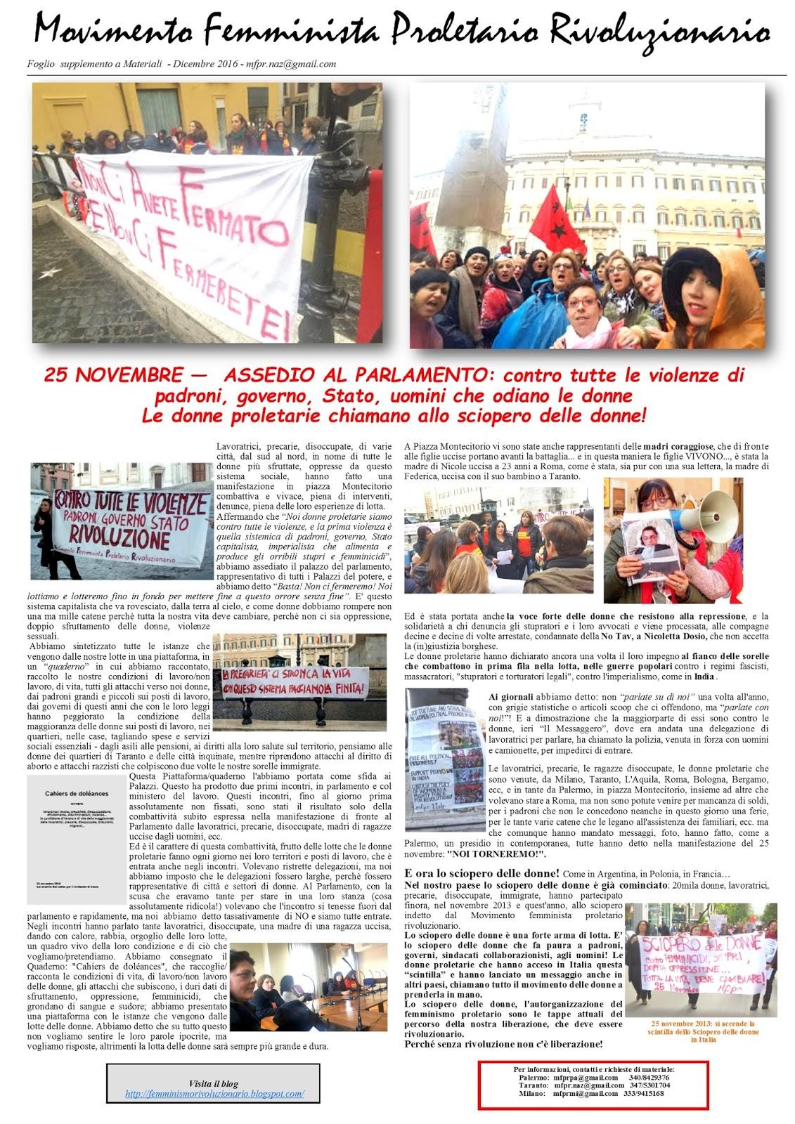 Il foglio Mfpr sul 25/26 Novembre... le donne proletarie chiamano allo sciopero delle donne