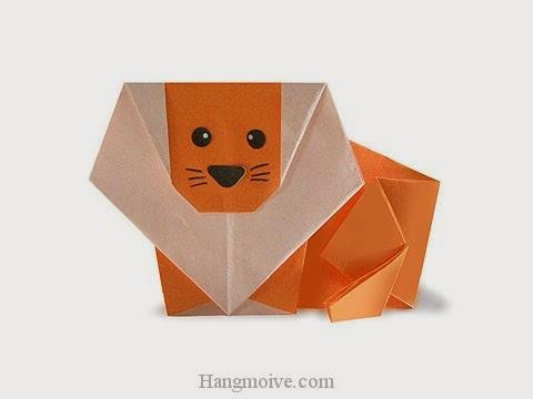 Cách gấp, xếp con sư tử bằng giấy origami - Video hướng dẫn xếp hình - How to make a Lion
