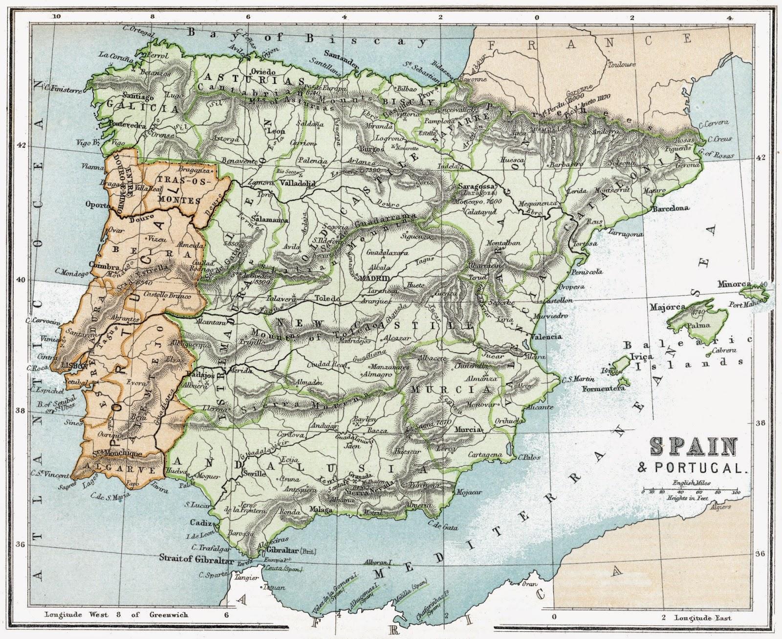 Mapa de España y Portugal 1896