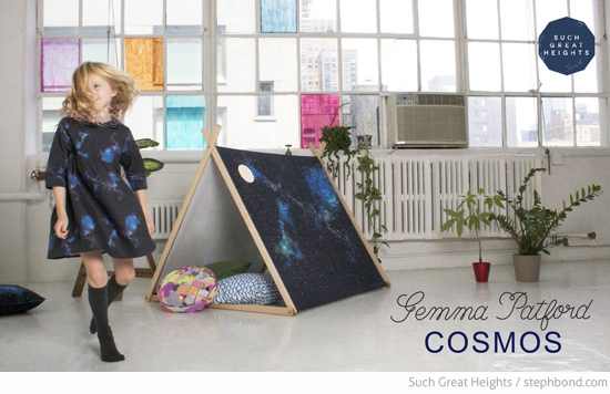 Kids clothes and a-frame tent by Such Great Heights in collaboration with Gemma Patford Cosmos