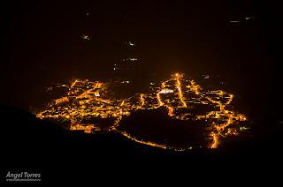 Valdepeñas de Jaén en la noche. Reserva Starlight con poca contaminación lumínica para ver las estrellas.