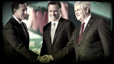 Newt Gingrich, Mitt Romney, and Rick Santorum