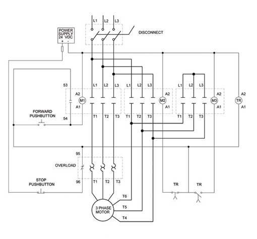 Wiring Diagram For A 3 Phase Motor Starter : Phase motor wiring diagrams elec eng world