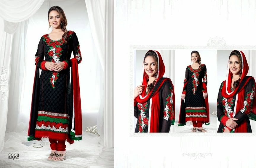 EshaDeolSalwarSuits2013 2014 wwwfashionhuntworldblogspotcom 011 - Wonderful Color Combination Esha Deol Suits