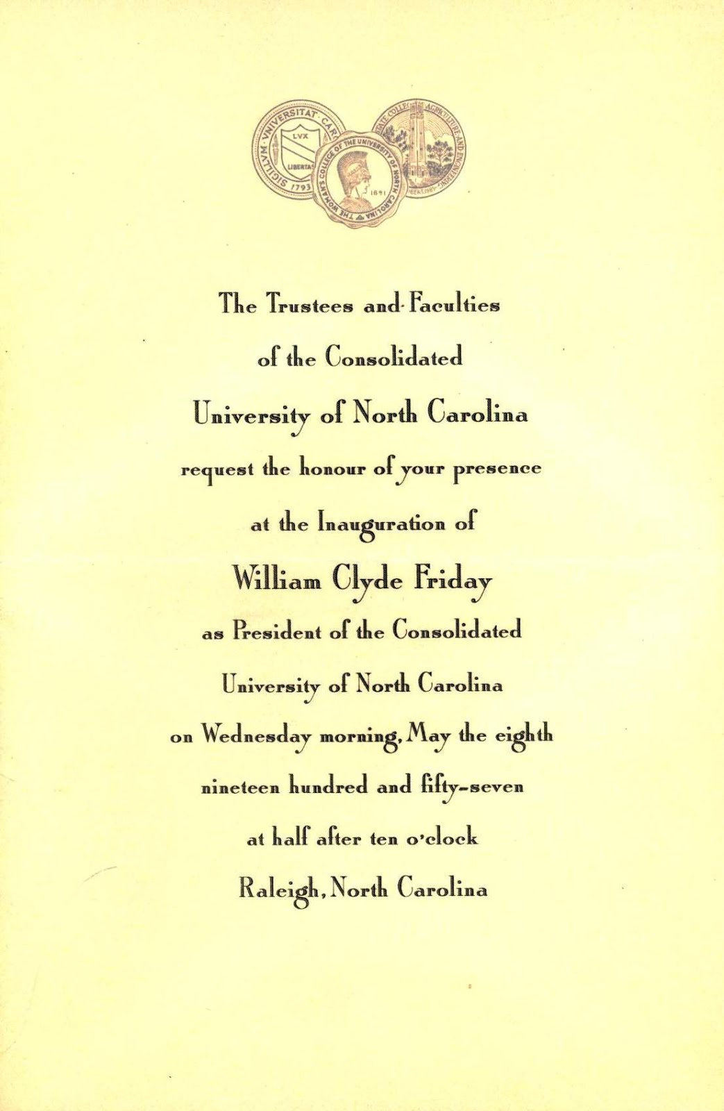 Spartan stories william friday and uncg invitation to the inauguration of friday as president of the consolidated university of north carolina 1957 stopboris Image collections