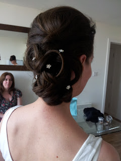 low wedding bun with diamante - Wedding hair