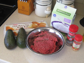 Paleo ingredients for avacado stuffed meatloaf shared by @PamelaMKramer