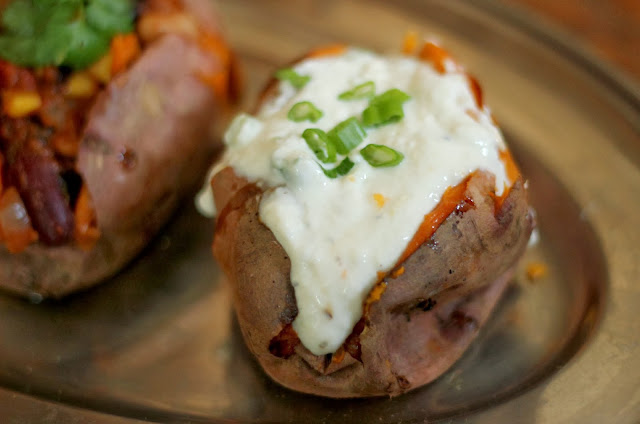 Baked Sweet Potato with yoghurt and parmesan recipe
