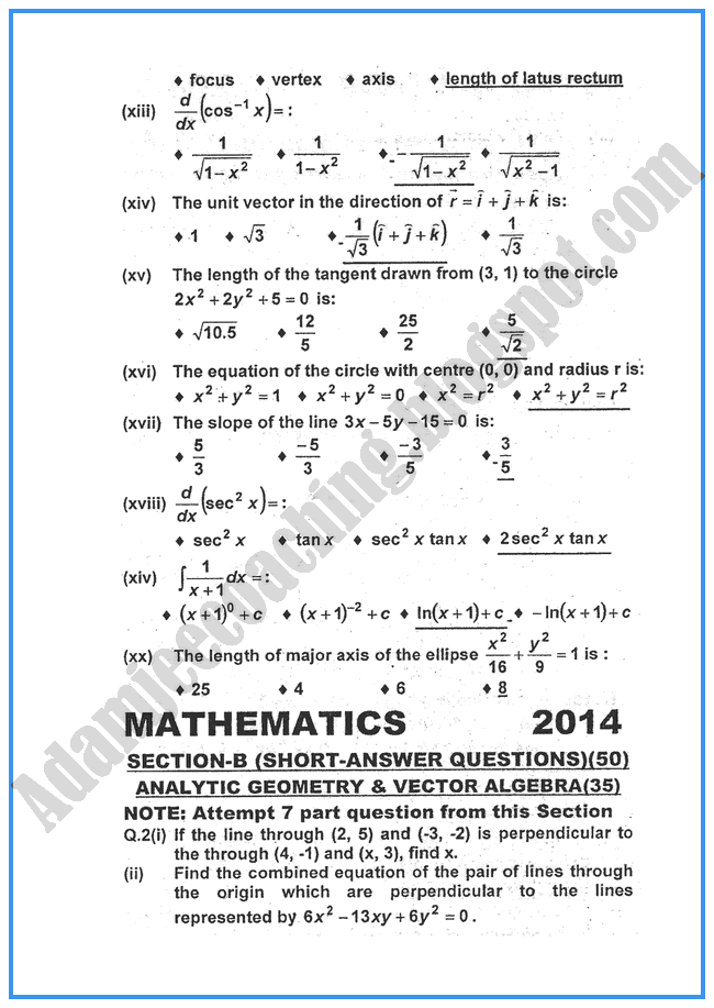 Mathematics-2014-past-year-paper-class-XII