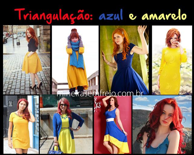 Combinando o cabelo vermelho com roupas amarelas e azuis por Mineira sem Freio