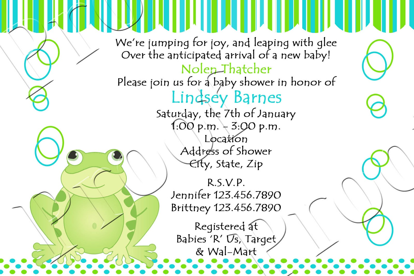 Fanci Prints by Tiffany Frog Baby Shower Invitations