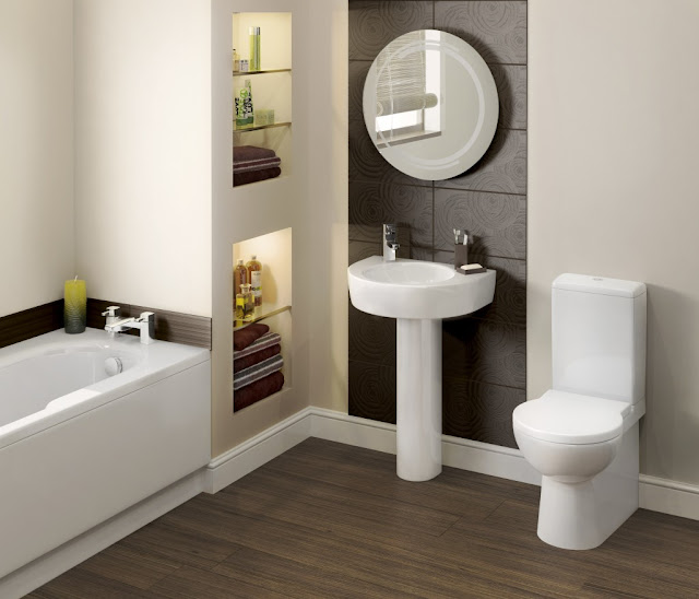 fabulous small round bathroom mirrors mounted on brown pattern wall with small white standing washbasin
