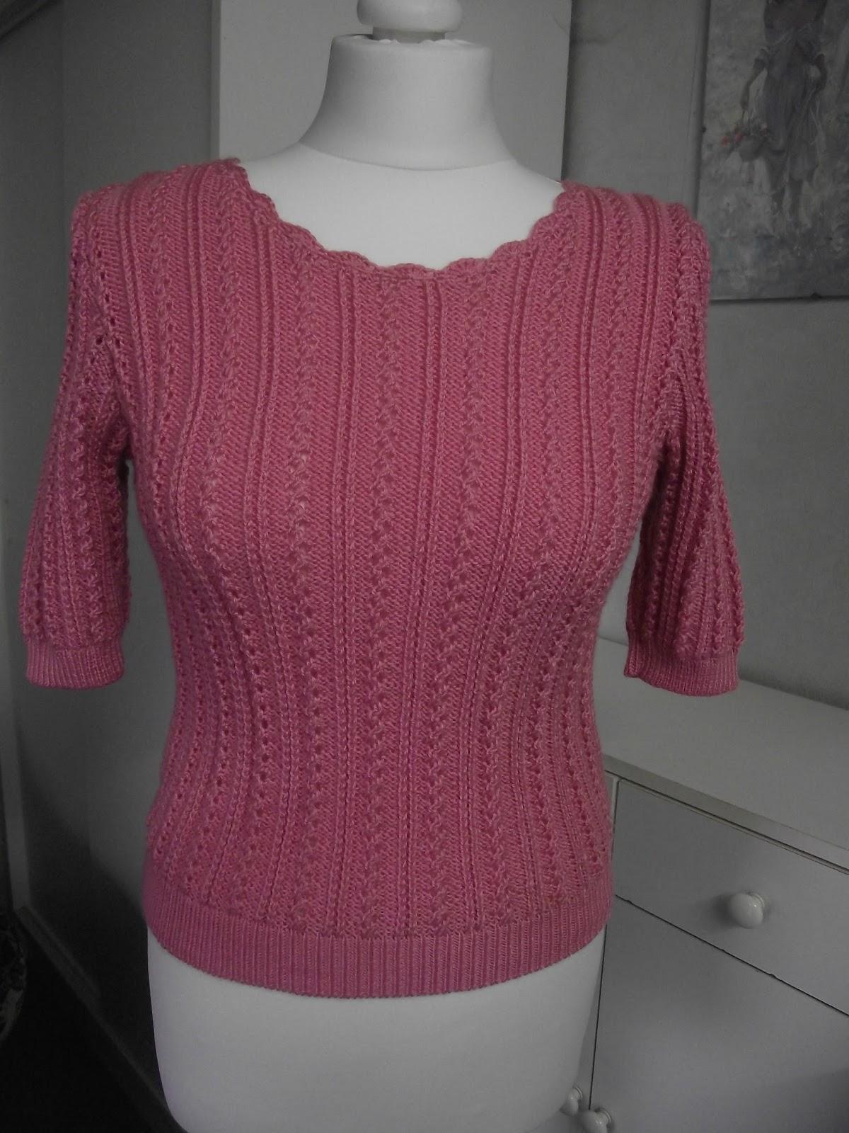 Crochet et tricot facile avec explications pull tricot point ajour rose - Point tricot ajoure facile ...