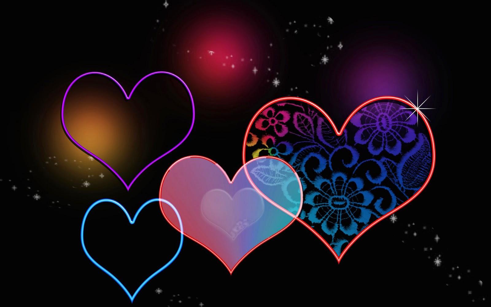 Zwarte achtergrond met liefdes hartjes