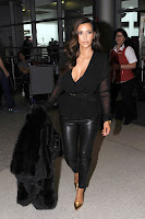 Kim Kardashian in tight leather pants