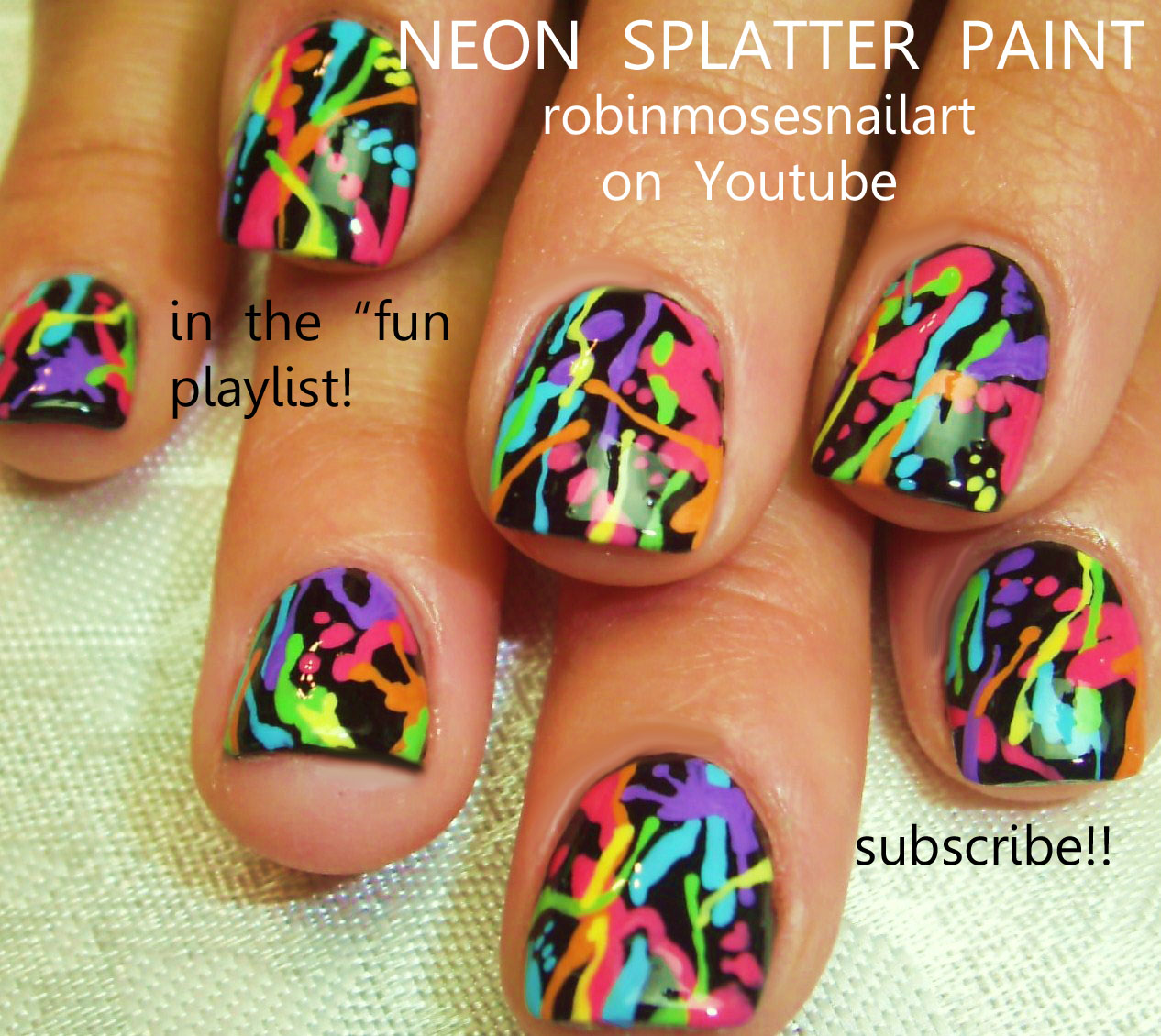 Robin moses nail art splatter paint nails pollock splatter neon neon splatter paint nail art on black nails prinsesfo Image collections