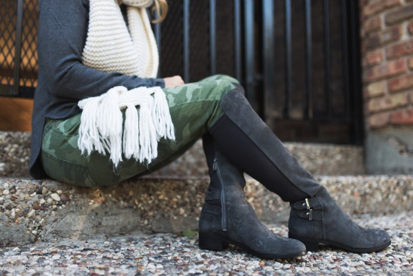 Winter fashion - camo pants, grey shirt, white scarf with grey knee high boots