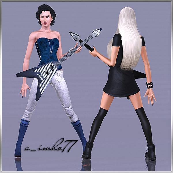 9 Poses - Girl with guitar by IMHO Sims+3,+imho,+poses+(3)