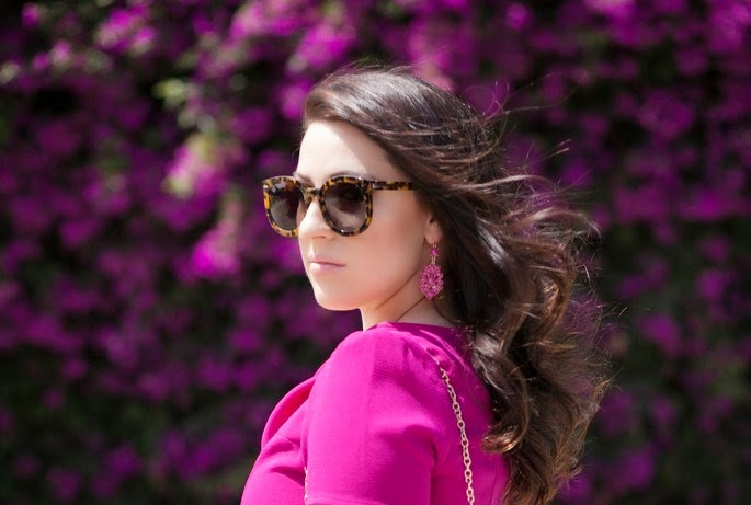karen walker sunglasses, magenta earrings, lexi mod dress, le tote