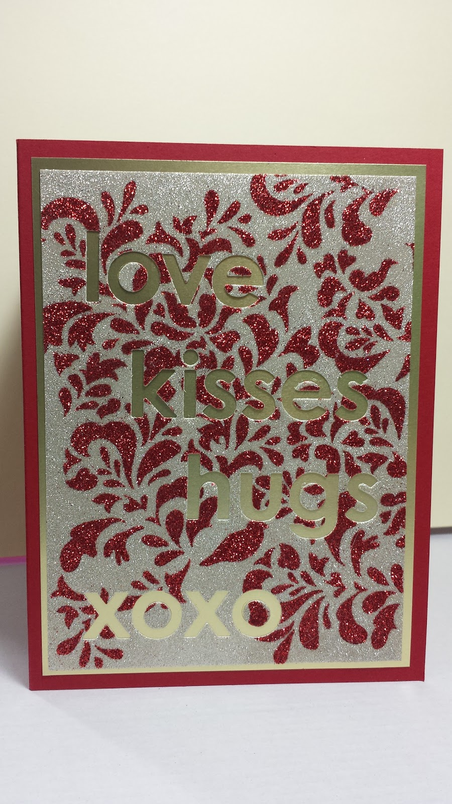 glitter background, Valentine's card, stencil
