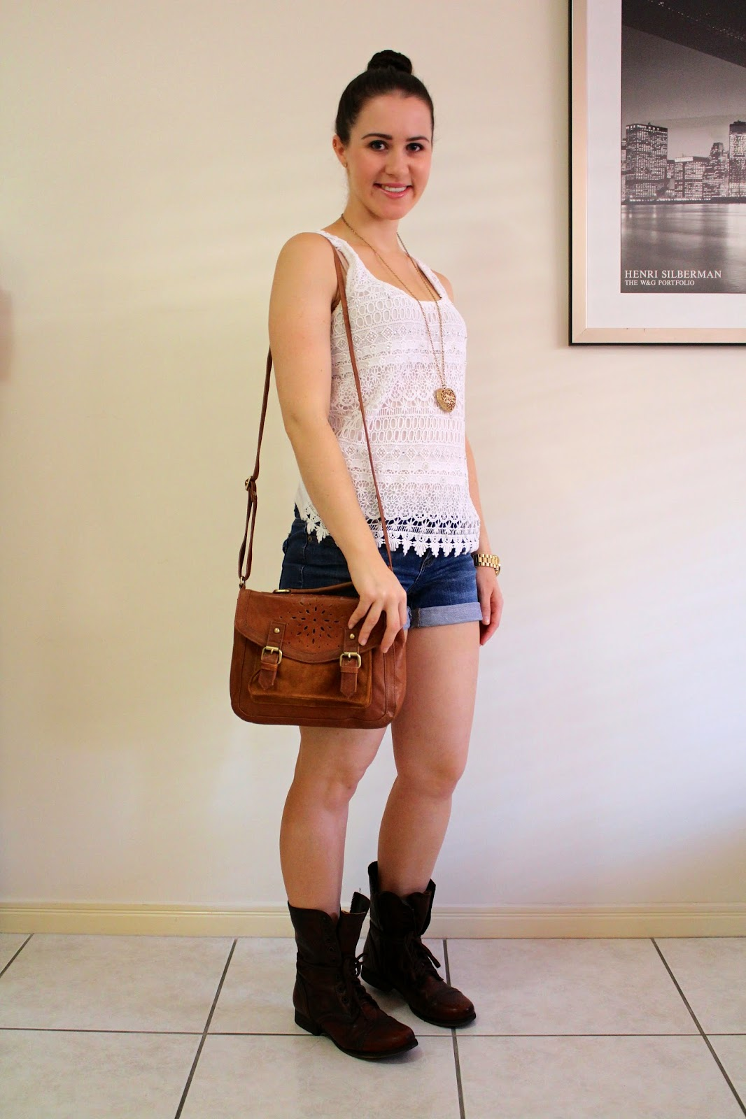 Denim shorts, crochet top, brown combat boots, brown slouchy cross body bag, gold long necklace, gold michael kors watch, everyday outfit, petite outfit, college outfit, university outfit, fall outfit, autumn outfit, weekend outfit