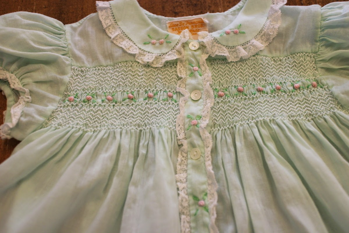 2e4896a09 Lilacs and Springtime  Vintage Smocked Baby Dress