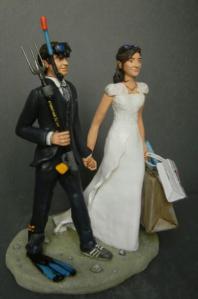 idee regalo sposi sulla torta topper cake sposo subacqueo orme magiche