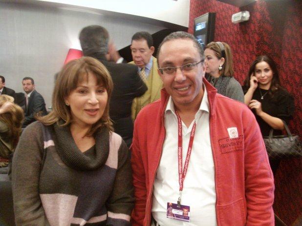 هشام لاشين والفنانة بوسي في دمشق السينمائي