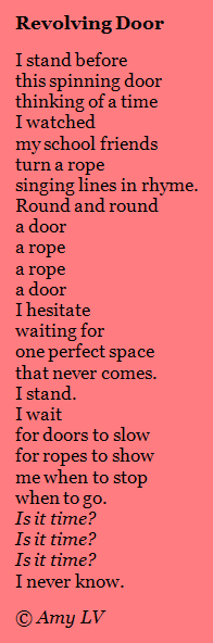 In this revised version notice how how the repeated words door and rope are centered thus highlighting the repeated movement.  sc 1 st  The Poem Farm - Amy Ludwig VanDerwater & The Poem Farm: 11/01/2010 - 12/01/2010