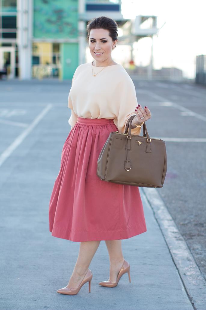 retro-modern oufit, street style, fashion week san diego, pink midi skirt