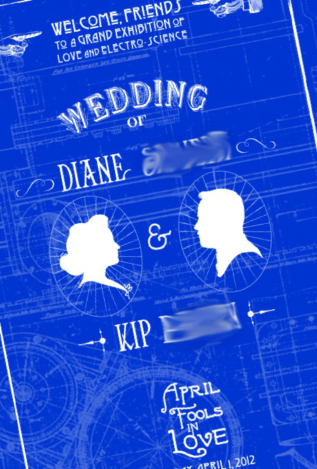 starting with blueprint wedding programs all rolled and presented in a