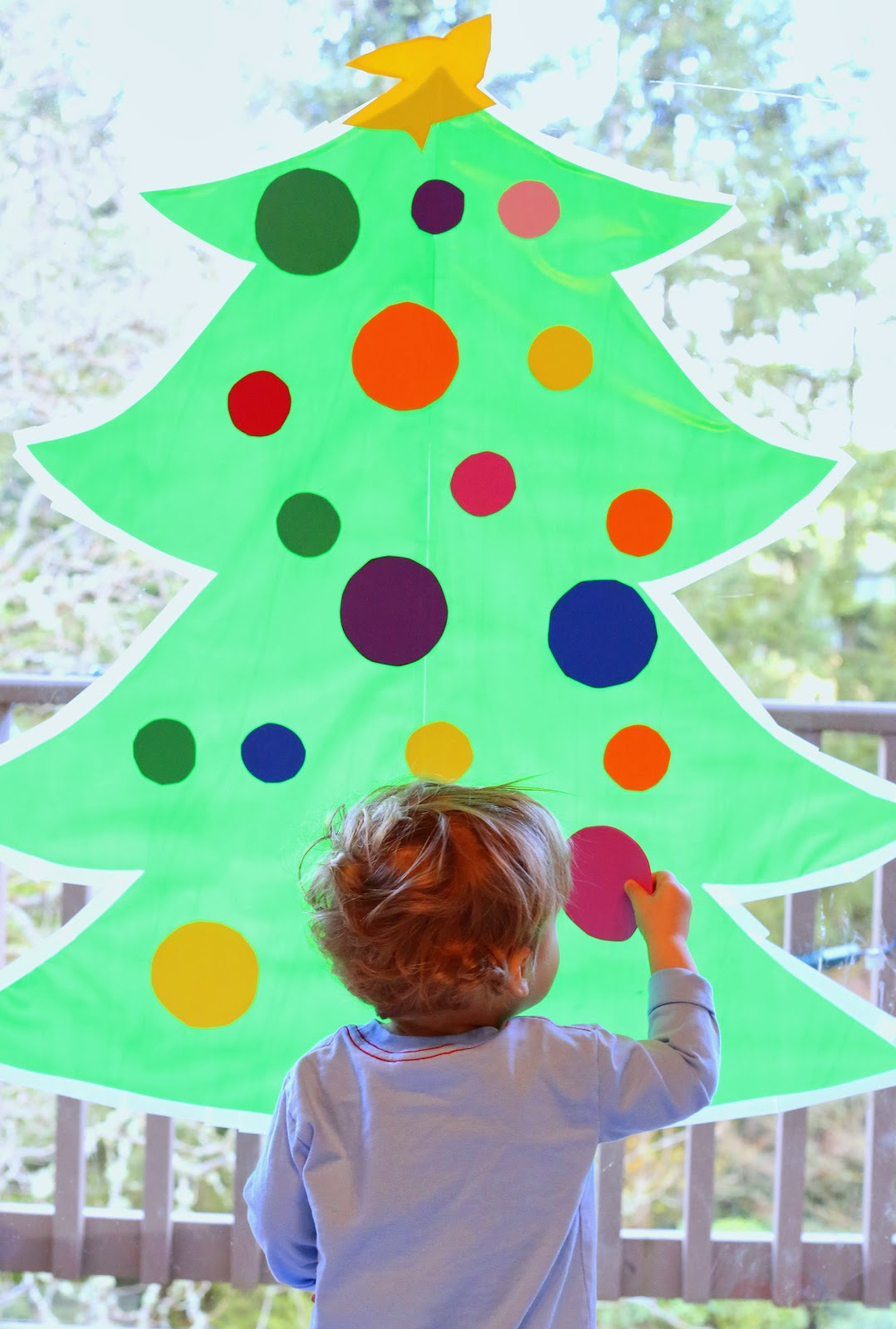 Sticky Contact Paper Christmas Tree for Kids