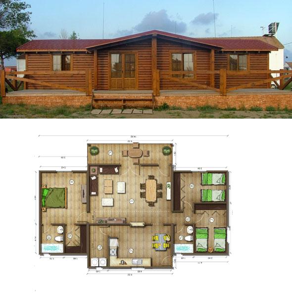 Casas de madera en espa a planos casas de madera 106 m2 for Planos de casas de dos pisos con medidas y fachadas