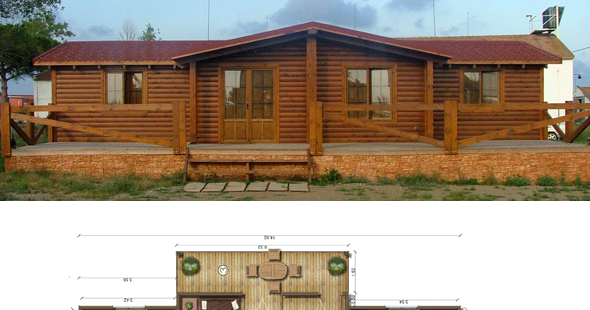 Casas de madera en espa a planos casas de madera 106 m2 - Casas de madera en espana ...