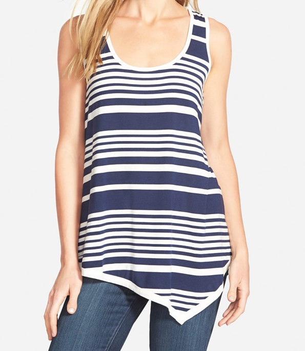 Summer Fashion - Bobeau Asymmetrical Stripe Tank