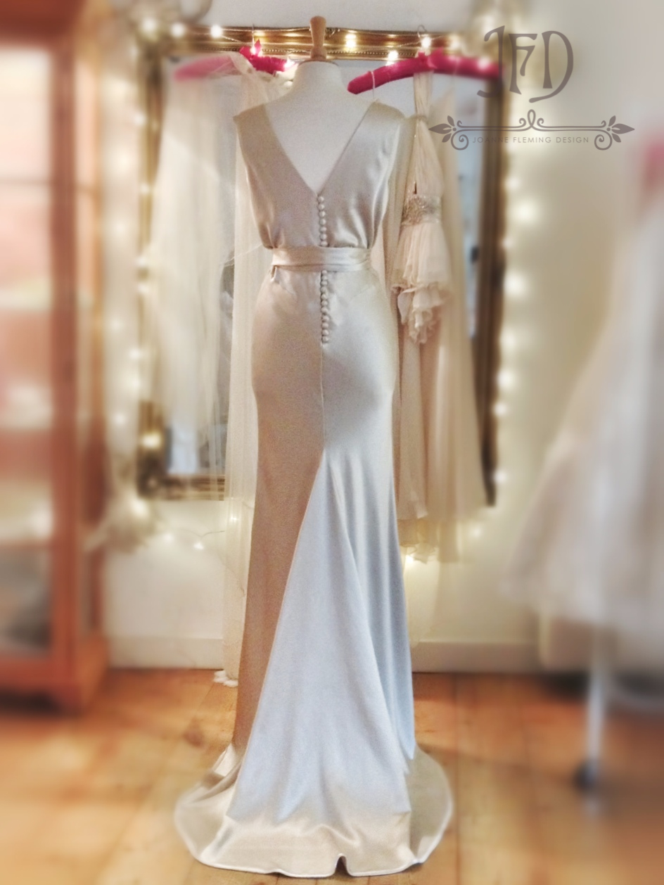 Welcome keira oyster silk bias cut wedding dress with waist sash by joanne ombrellifo Image collections