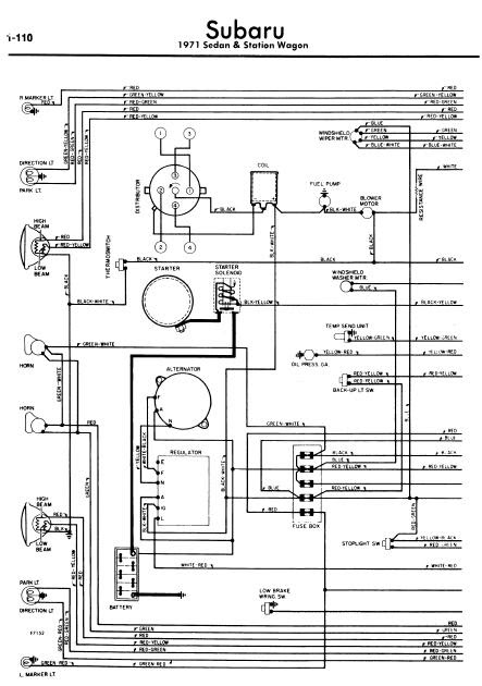 subaru sedan  u0026 station wagon 1971 wiring diagrams