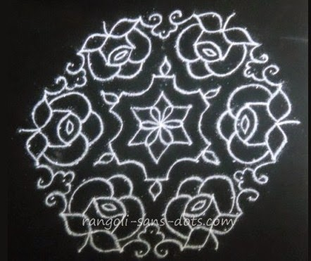 15 to 8 dots rose kolam or roja kolam with dots