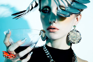beauty photographer LA, moder drinking cocktail, woman eating maggot, silverware accessories