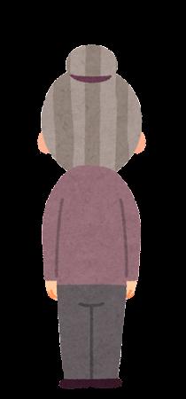 お婆さんのイラスト(後ろ向き)
