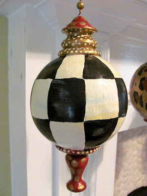 hand painted large black and white check designer ornaments