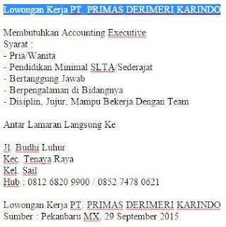 Lowongan Kerja PT. PRIMAS DERIMERI KARINDO