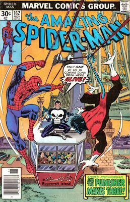 Amazing Spider-Man #162, Spidey and Nightcrawler from the X-Men are confronted by the Punisher sat on top of a New York cable car