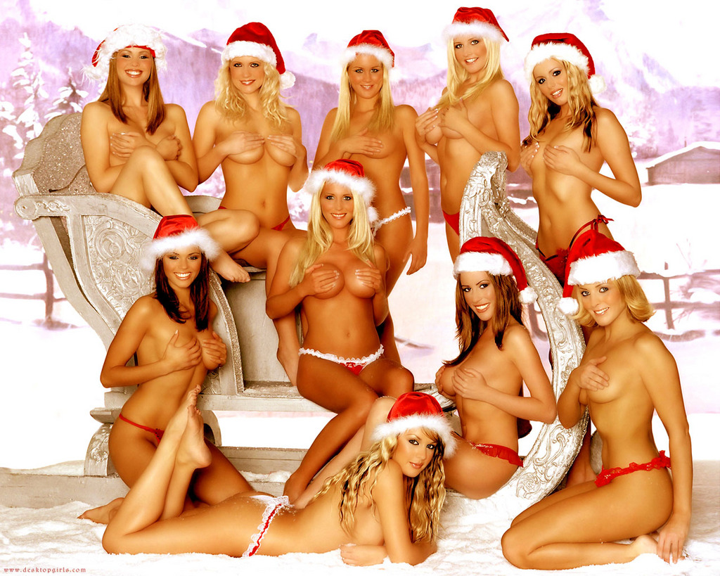 two sexy santa girls naked